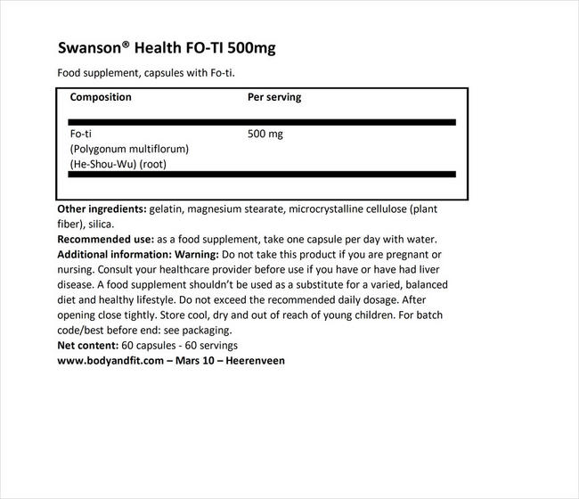 FO-TI 500mg Nutritional Information 1