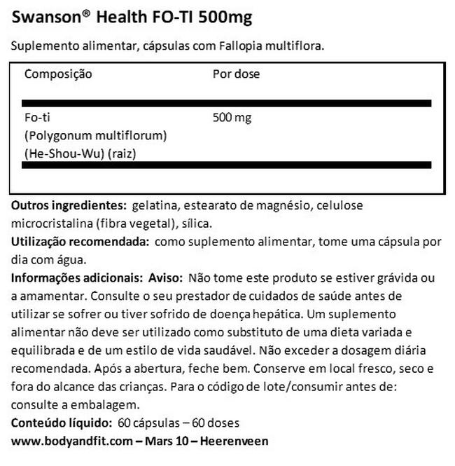 FO-TI 500 mg Nutritional Information 1