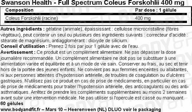 Full Spectrum Coleus Forskohlii 400mg Nutritional Information 1