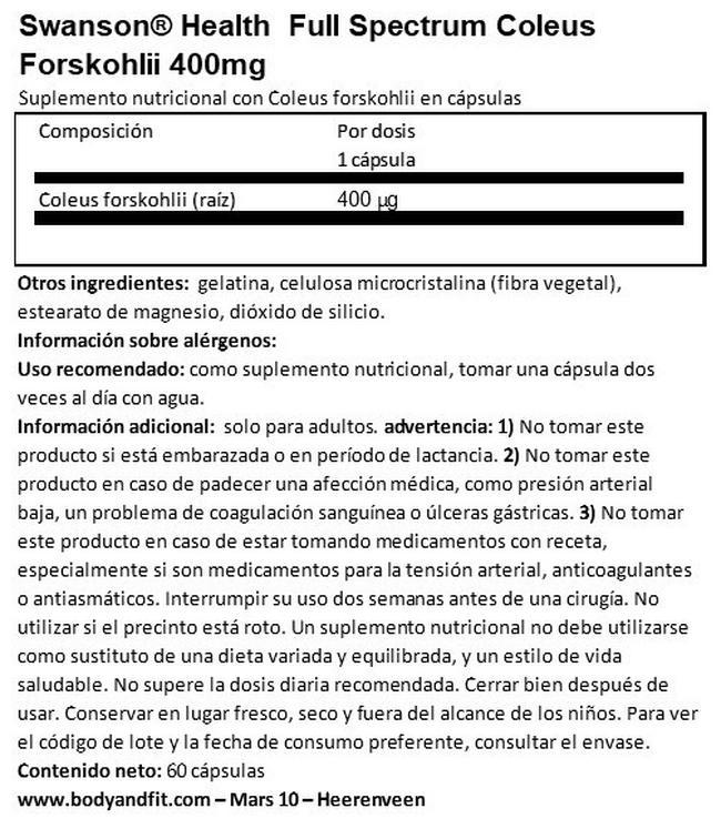 Full Spectrum Coleus Forskohlii 400 mg Nutritional Information 1