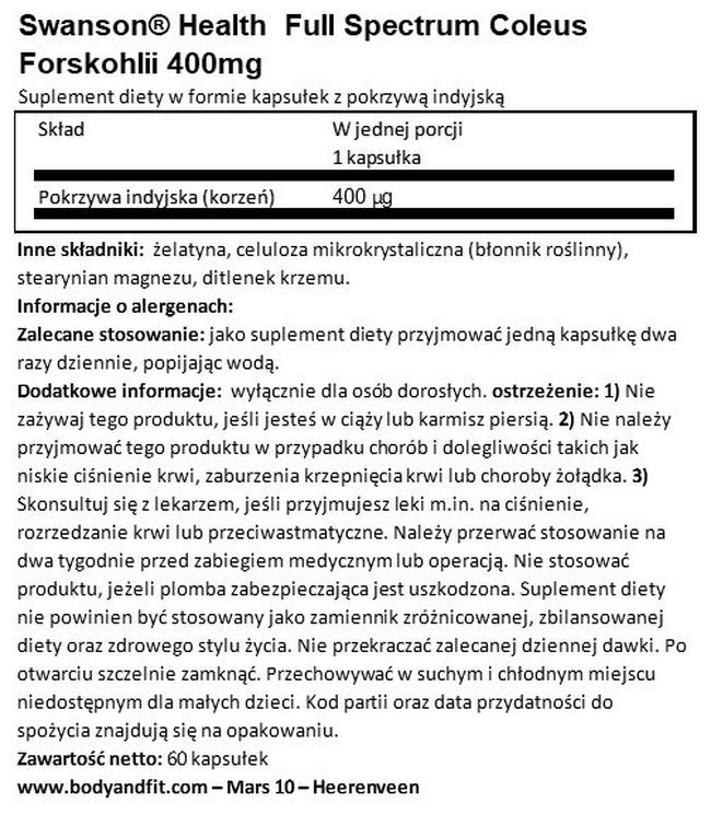 Full Spectrum Coleus Forskohlii 400 mg Nutritional Information 1
