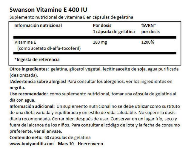 Vitamin E 400 UI Nutritional Information 1