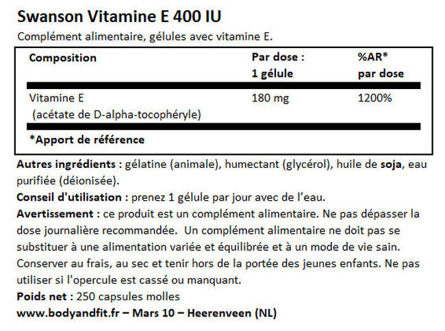 Vitamine E 400IU Nutritional Information 1