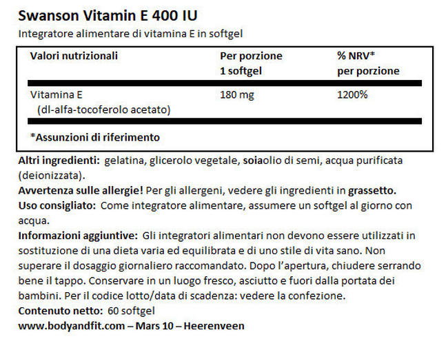 Vitamina E 400 IU Nutritional Information 1