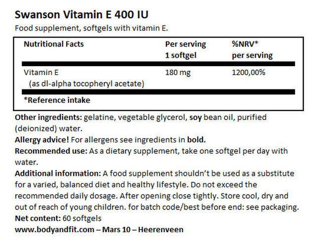 스완슨 비타민 E 400IU 60정 (소프트겔) Nutritional Information 1