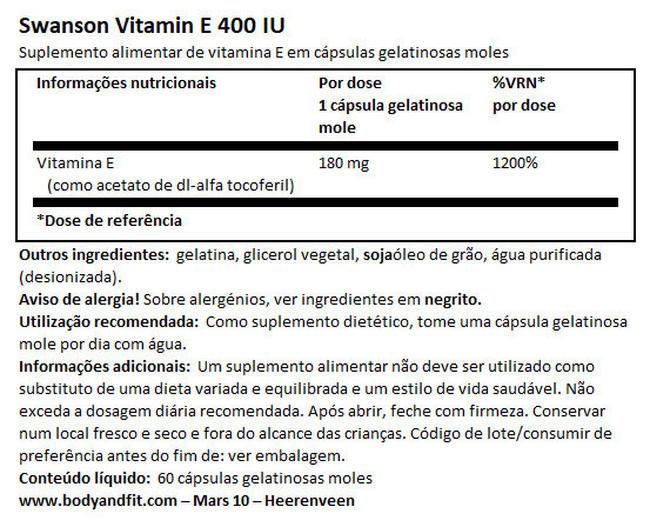 Vitamin E 400IU Nutritional Information 1