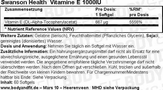 Vitamine E 1000 IU Nutritional Information 1
