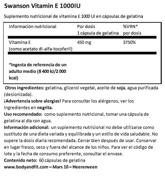 Vitamin E 1000 UI Nutritional Information 1