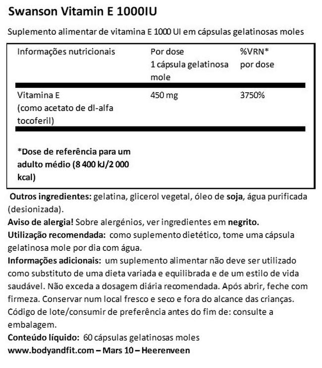 Vitamin E 1000 IU Nutritional Information 1