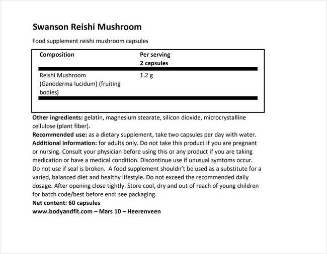 Reishi Mushroom 600mg Nutritional Information 1
