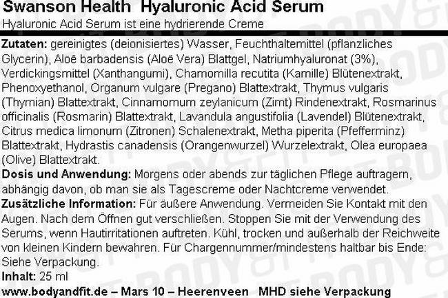 Hyaluronic Acid Serum Nutritional Information 1