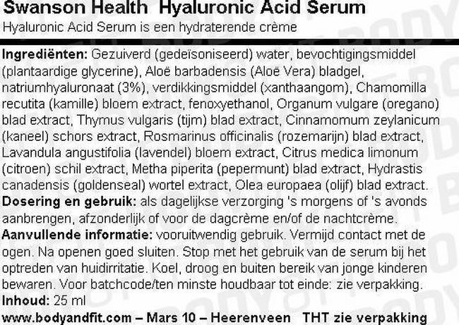 Hyaluronic Acid Serum Nutritional Information 1