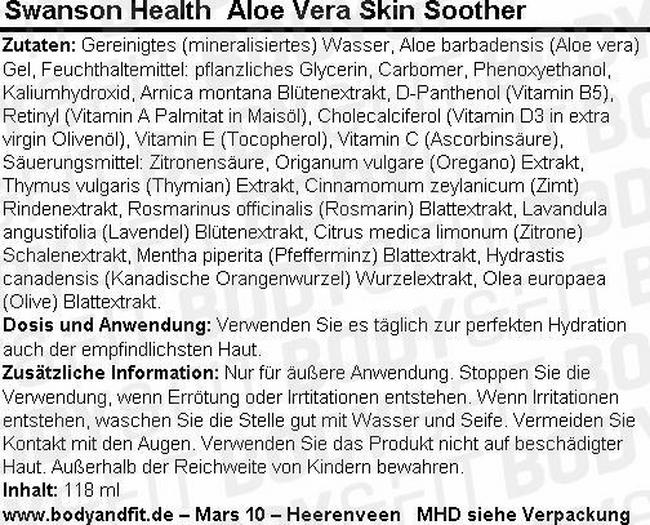 Aloe Vera Skin Soother Nutritional Information 1