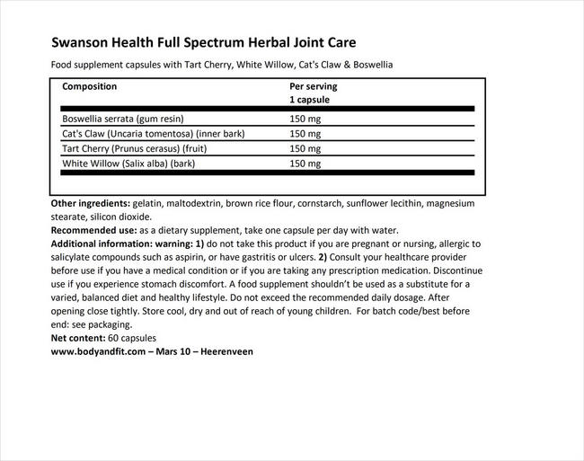 Full Spectrum Herbal Joint Care Nutritional Information 1