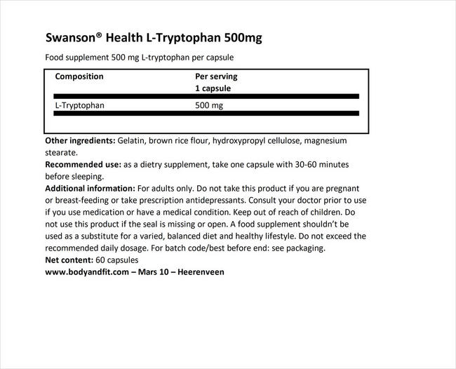 L-Tryptophan 500mg Nutritional Information 1