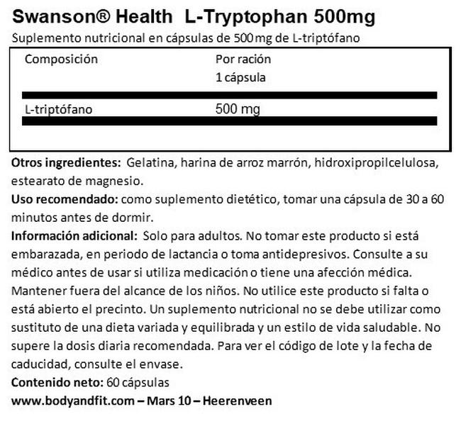L-Tryptophan 500 mg Nutritional Information 1