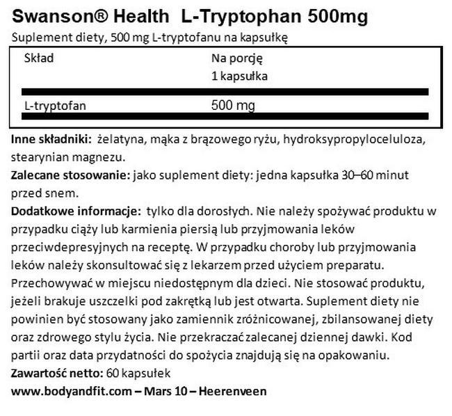 L-tryptofan 500 mg Nutritional Information 1