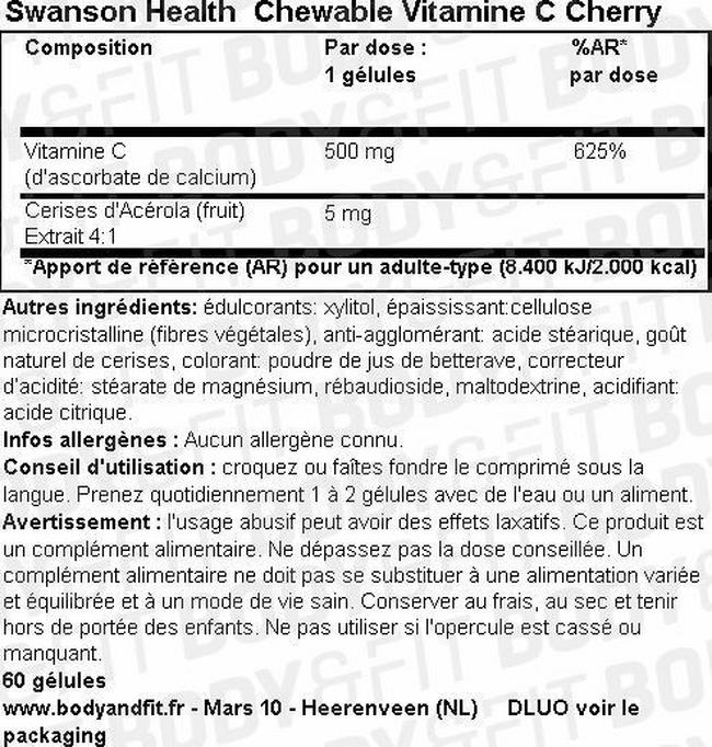 Chewable Vitamine C Cherry Nutritional Information 1