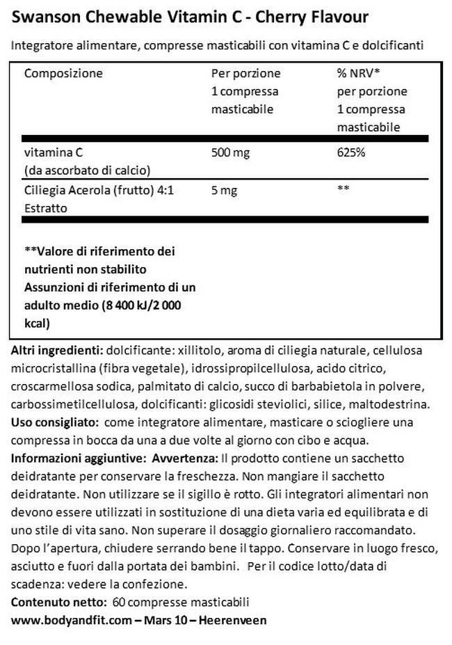 Vitamina C alla ciliegia masticabile Nutritional Information 1