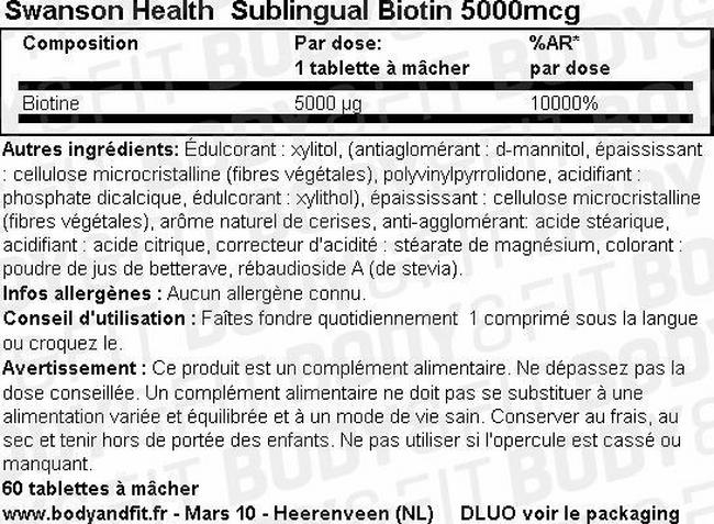 Biotine Sublinguale 5000mcg Nutritional Information 1