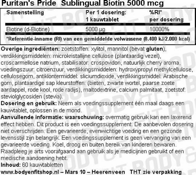 Sublingual Biotin 5000mcg Nutritional Information 1