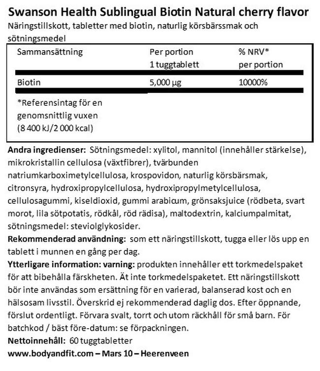 Sublingual Biotin 5 000 mcg Nutritional Information 1