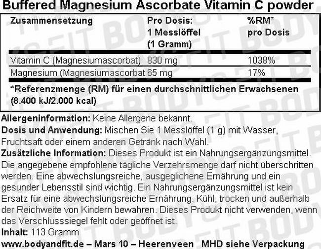 Buffered Magnesium Ascorbate Vitamin C Pulver Nutritional Information 1