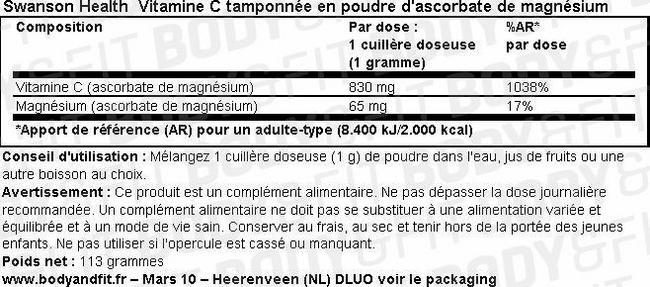 Vitamine C tamponnée en poudre d'ascorbate de magnésium Nutritional Information 1