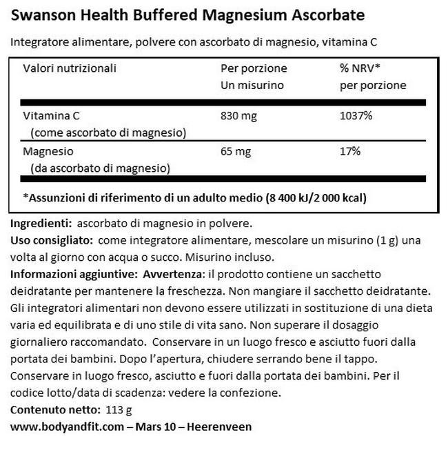 Buffered Polvere di Ascorbato di Magnesio e Vitamina C Nutritional Information 1