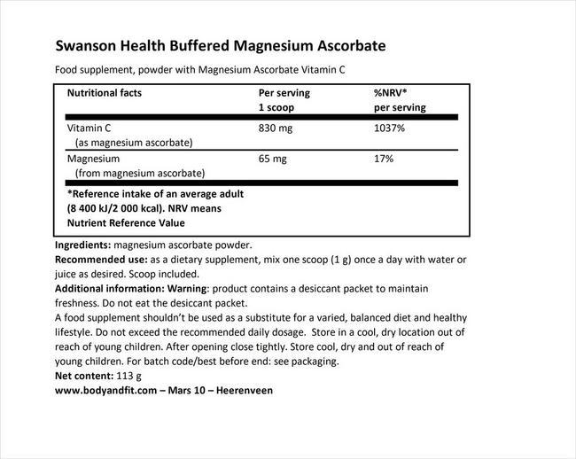 バッファード マグネシウム アスコルベート ビタミンCパウダー Nutritional Information 1