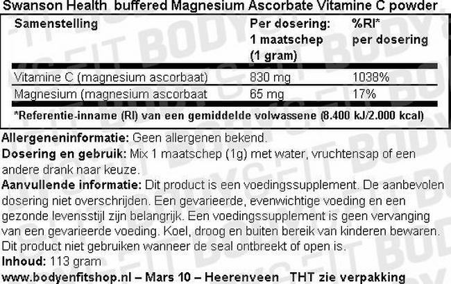 Buffered Magnesium Ascorbate Vitamin C powder Nutritional Information 1