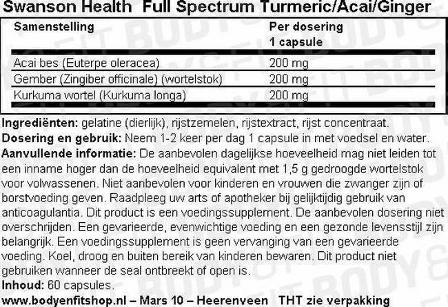 Full Spectrum Turmeric/Acai/Ginger Nutritional Information 1