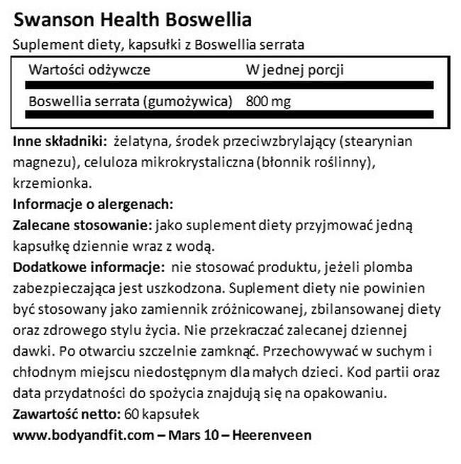 Full Spectrum Boswellia 800 mg Nutritional Information 1