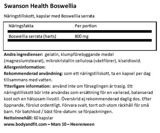Full Spectrum Boswellia 800 mg Nutritional Information 1