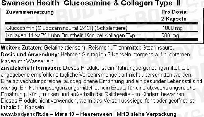 Glucosamine & Collagen Type II Nutritional Information 1