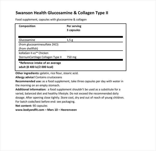 グルコサミン&コラーゲン タイプII Nutritional Information 1