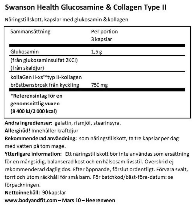 Glucosamine & Collagen Type II Nutritional Information 1