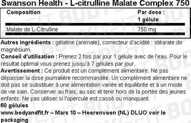 Gélules L-Citrulline Malate Complex 750mg Nutritional Information 1