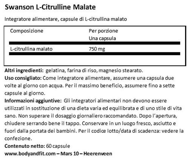Polvere di Citrullina Malato Complex 750 mg Nutritional Information 1