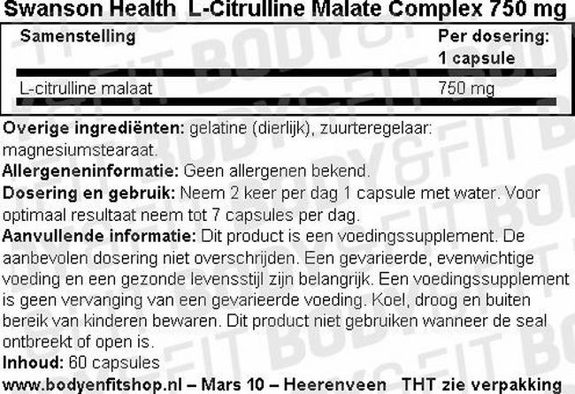 L-Citrulline Malate Complex 750mg Nutritional Information 1