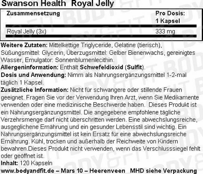 Royal Jelly Nutritional Information 2
