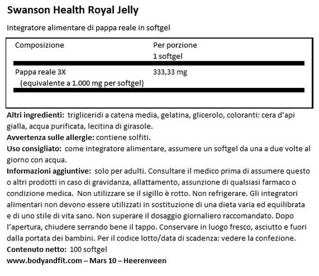 Royal Jelly Nutritional Information 1