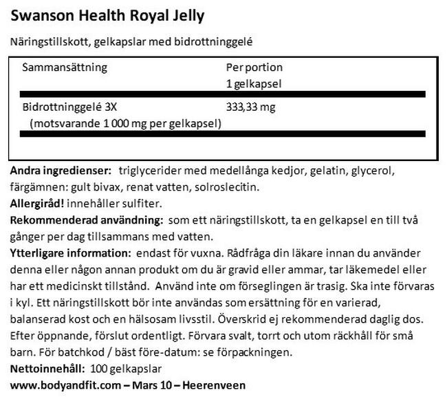 Ryal Jelly Nutritional Information 1