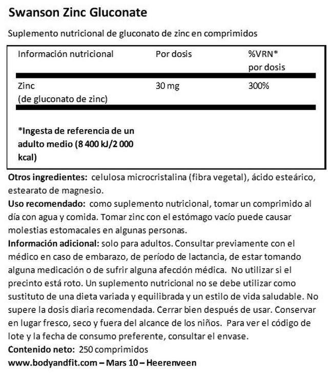Zinc (Gluconate) 30 mg Nutritional Information 1
