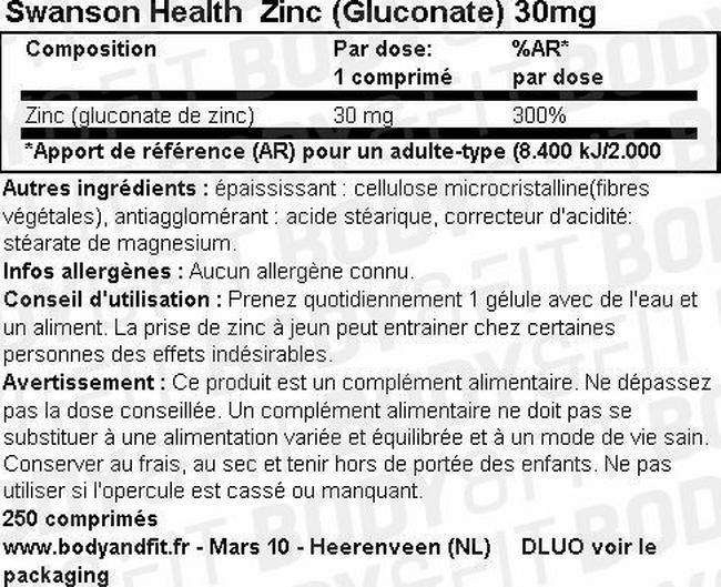 Zinc (Gluconate) 30mg Nutritional Information 1
