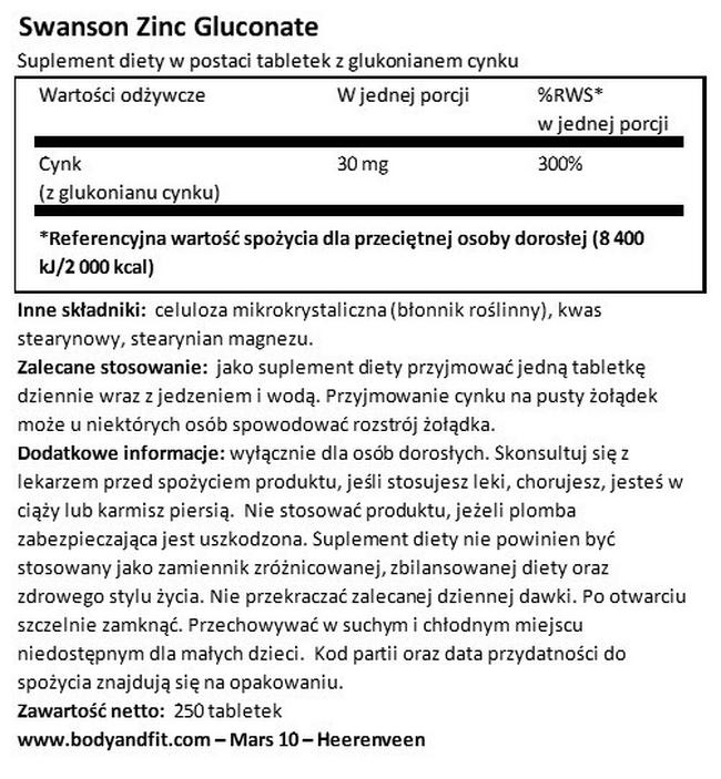 Cynk (Glukonian) 30 mg Nutritional Information 1