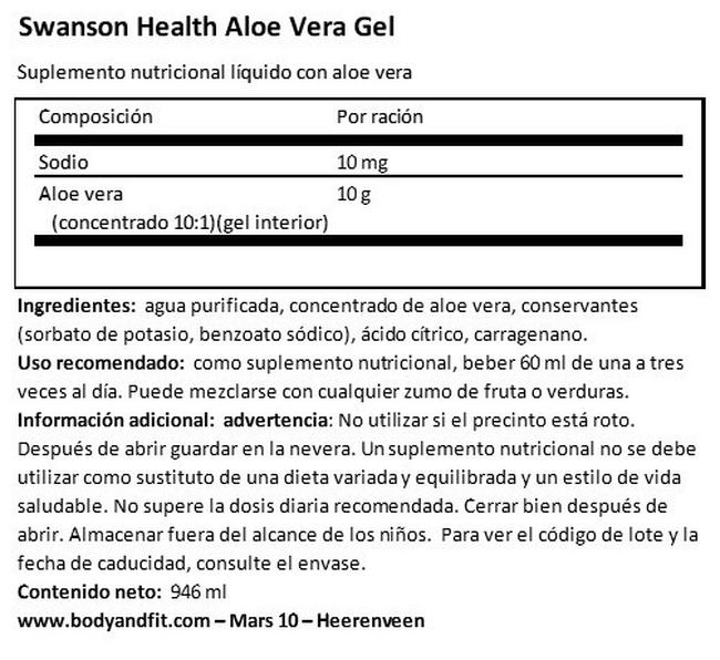 Aloe Vera Gel Nutritional Information 1