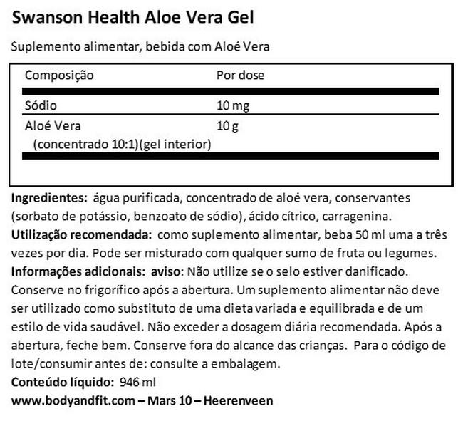 Aloe Vera Gel Nutritional Information 1