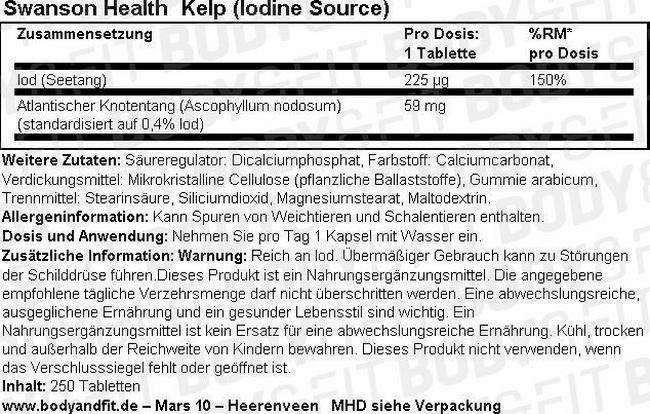 Kelp (Iodine Source) Nutritional Information 1