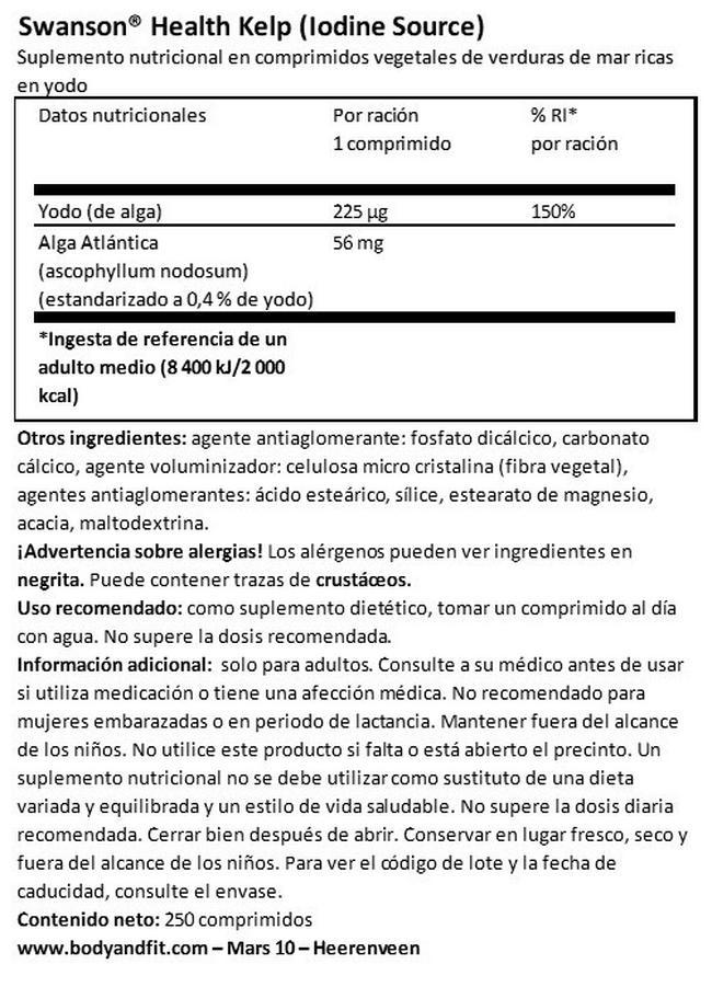 Kelp Nutritional Information 1